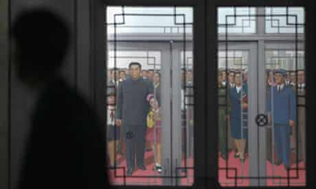 Mural showing Kim Il Sung and family in the People's Palace of Culture in Pyongyang