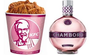 Breast cancer awareness pink products: KFC bucket and Chambord drink