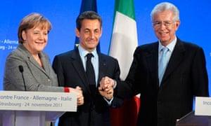 German Chancellor Angela Merkel (L), Fra