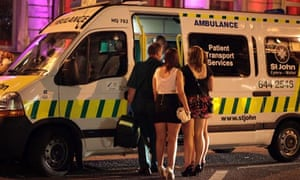 Revellers in ambulance, Cardiff city centre