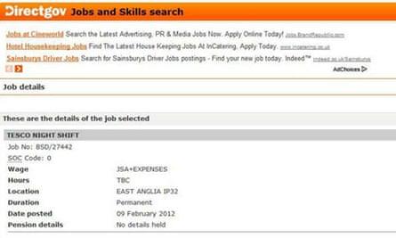 Tesco job advert
