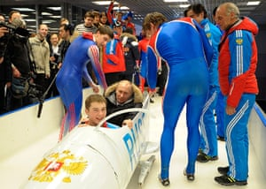 Putin: Vladimir Putin in a bobsleigh