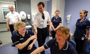 David Cameron and Andrew Lansley at Royal Salford Hospital
