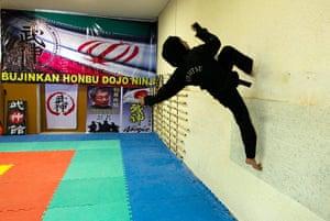 iran female ninjas: Gravity's for wimps.