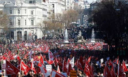 Protesters in central Madrid on Sunday.