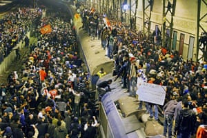 Port Said clashes: Crowds at train station waiting for people to arrive from Port Said
