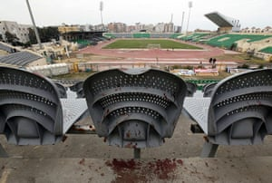 Port Said clashes: Blood is seen on a chair after clashes at the Port Said stadium