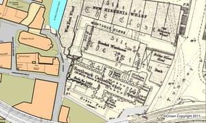 map mashing up 20th century and current borough of Southwark