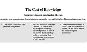 The Cost of Knowledge petition – screen grab