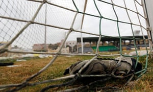 the goal at Port Said the day after deadly violence broke out between football fans