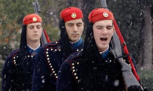 Greek presidential guards in Athens in the snow