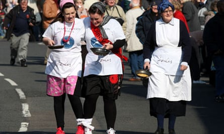 The world's oldest pancake race, held annually in Olney, Buckinghamshire