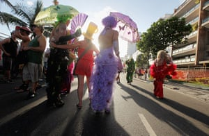 Rio Carnival: Revelers parade during Carnival celebrations along Ipanema beach