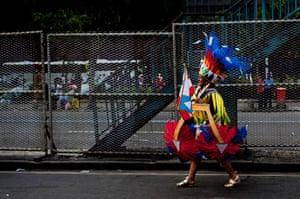 Rio Carnival: A reveler before the samba school's parade