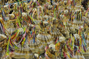 Rio Carnival: Revellers of the Beija Flor samba school perform at the Sambadrome