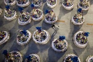 Rio Carnival: Dancers of Vila Isabel samba school parade during carnival celebrations