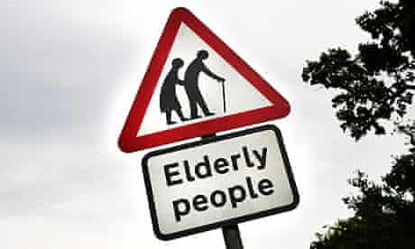 Road sign warning about old people