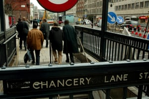 Dickens places: Commuters leaving Chancery Lane underground station