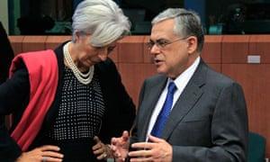 Lagarde talks with Greece's prime minister Papademos