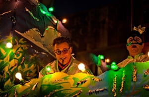 Mardi Gras: Andy Garcia rides on a float in the Bacchus Parade as an honorary guest