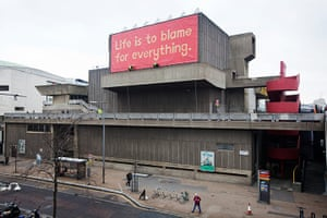 Jeremy Deller: 'Life is to blame for everything' banner by Jeremy Delle