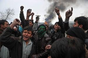 Bagram protest: demonstrators outside the base