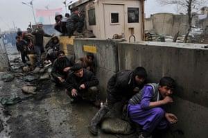 Bagram protest: boys take cover