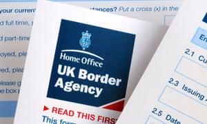 United Kingdom Border Agency visa application form. Image shot 2009. Exact date unknown.
