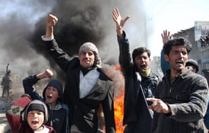 'Qur'an burning' Bagram: Afghans shout slogans during the protest
