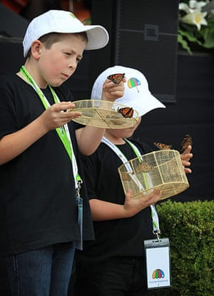 Christchurch memorial: Cameron Lucas, 8, and his brother Tyler, 6, release butterflies