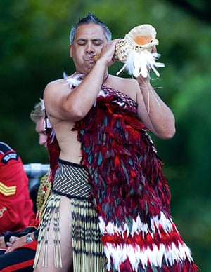 Christchurch memorial: A Maori warrior blows a putatara shell during the remembrance service