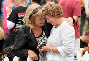 Christchurch memorial: Family members grieve during the service