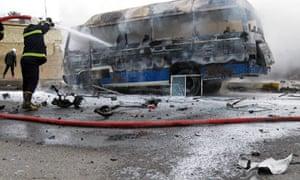 Burning bus in Baghdad