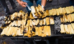 Tamales on the street in Zacatecas, Mexico