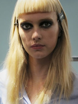 Versace Milan: A model backstage at Versace, Milan Fashion Week