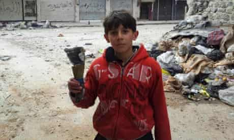 A boy in Homs