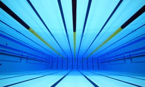 an underwater view of the olympic swimming pool at the aquatic centre in the london