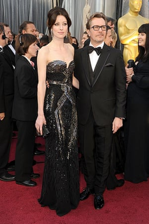 Oscars red carpet: Gary Oldman wearing Paul Smith with his wife Alexandra Edenborough