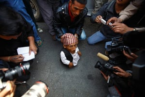 World's shortest man: Dangi speaks to the media at Tribhuvan Airport on his arrival