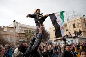 inside northern syria: a demonstration against the Assad regime