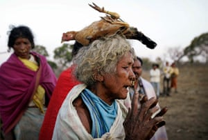 24 hours in pictures: Indian Dongaria Kondh tribal woman carries a chicken offered for sacrifice