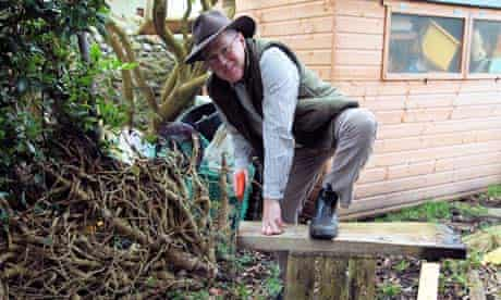 John Wright obtaining oak sawdust for his smoked vodka experiment