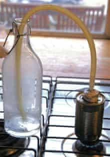 John Wright's experimental vodka smoking apparatus