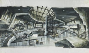 Concept artwork by Ken Adam or a volcano lair for You Only Live Twice