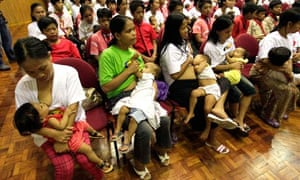 Breastfeeding mothers in the Philippines take part in a government training program
