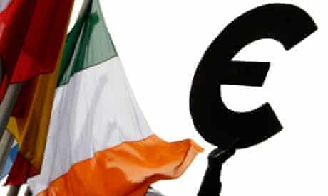 An Irish flag flies