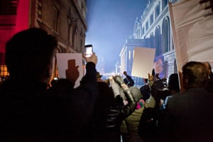 Guardian TV advert: In the thick of the action during the protest scenes on the shoot