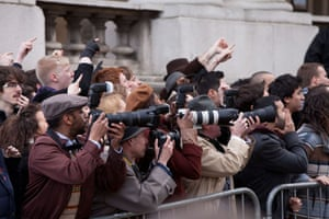 Guardian TV advert: Photographers line up outside the court as the Little Pigs are taken inside