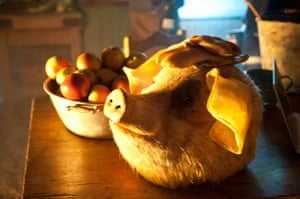 Guardian TV advert: One of the bespoke pig masks created for the new Guardian TV commercial
