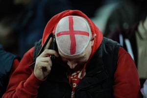 England  v Holland: England fan with painted bald head